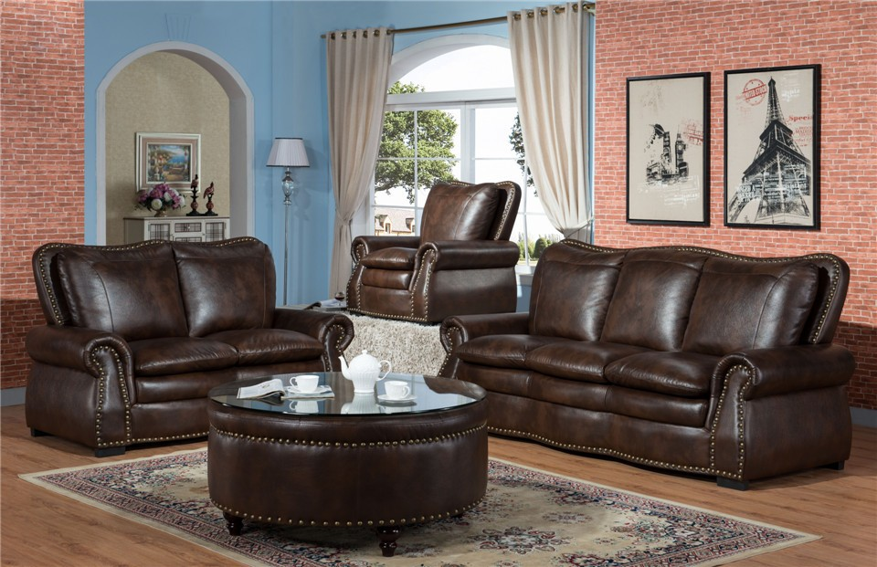 American Style Cheap Leather Sectional Sofa Living Room