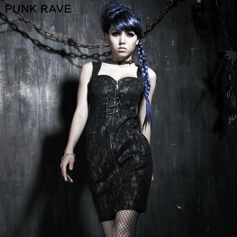 Q-175 Punk Rave Original Gothic Style Gluing Jeans Tight Fitted Dress Sex Prom Dress