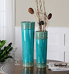 Ambient Crackled Teal Green Ceramic With Rope Details And Heavy Tan Glaze Vases Urns & Finials