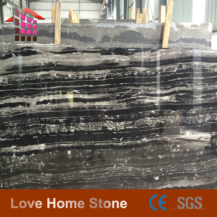 Chinese Polished Black Vicky Marble with white veins