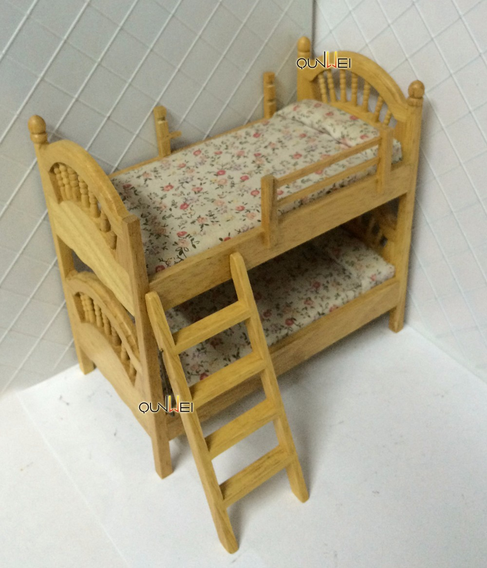 1 12 Scale Dollhouse Miniature Furniture Wooden Double Deck Beds