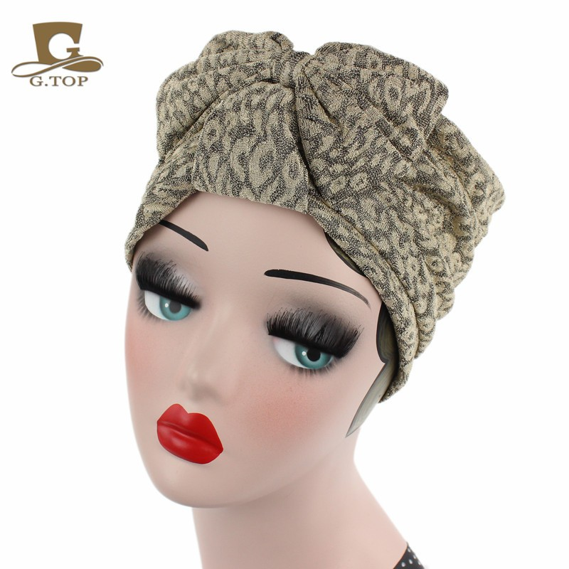 New Women  Bowknot Bow Amazon Hot Style Elastic Fabric Cotton Turban Beaine indian Cap TJM-206
