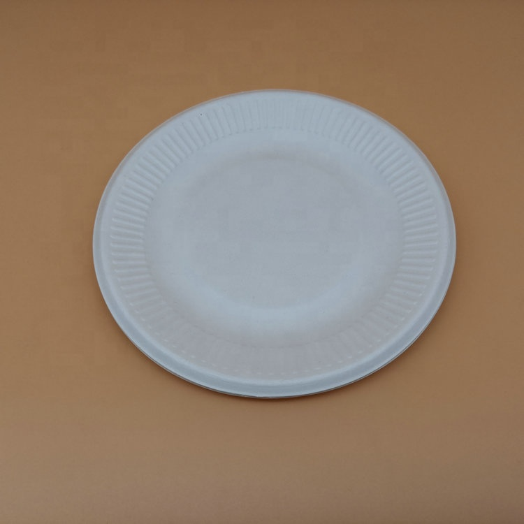 Hot Sale Estocado 6 Polegadas Bagaço De Cana Descartáveis Microwavable 100% Biodegradável Placa Redonda