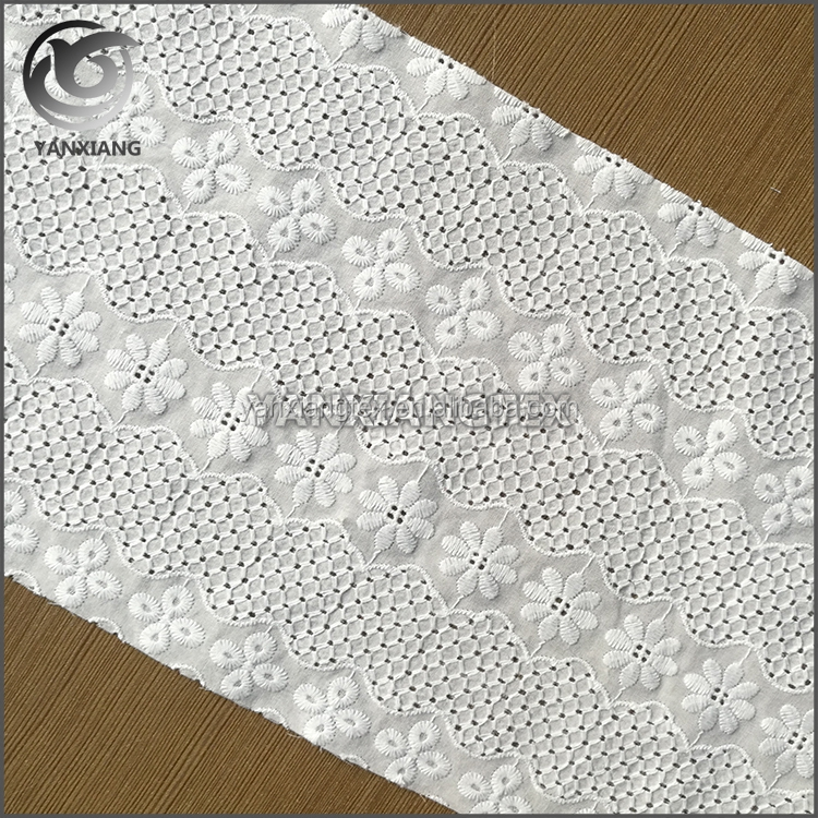 Fancy design plain cheap Cutwork Embroidery Cotton Fabric