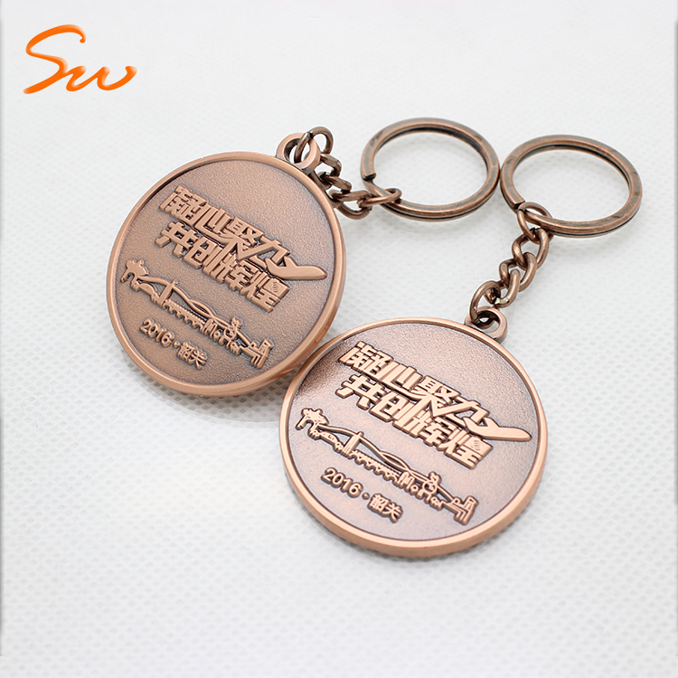 Custom Embossed Logo Metal Keychain Copper Coin Holder Keychain Supplier