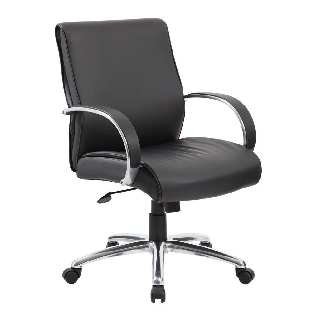 "Peck Mid Back Conference Chair with Aluminum Arms Dimensions: 27""W x 28""D x 38-41""H Seat Dimensions: 20""Wx20""Dx19-22""H Black Faux Leather/Aluminum Arms and Base"