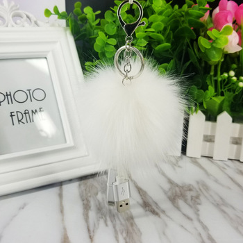 AP10144 Creative data line imitation rabbit fox fur ball pom pom pendant key chain android universal charging cable keychain