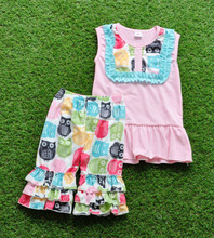 2017 newest yiwu factory Super Pink wholesale owl printed ruffle shorts baby toddler clothing