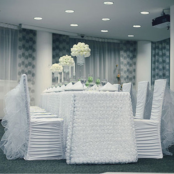 Wholesale price spandex stretch ruffled swag back chair covers for wedding Christmas party hot sale