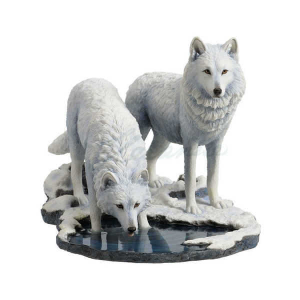 Winter warrior white wolf statues for collection
