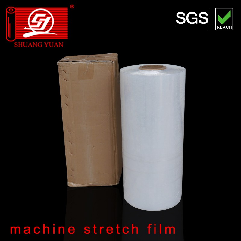 ShuangYuan Thickness 20-23 mic LLDPE plastic Machine Stretch Film wrapper