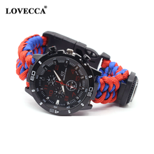 NP-13 new design survival tactical watch paracord bracelet with fire starter/compass/fishing tools/whistle/thermometer