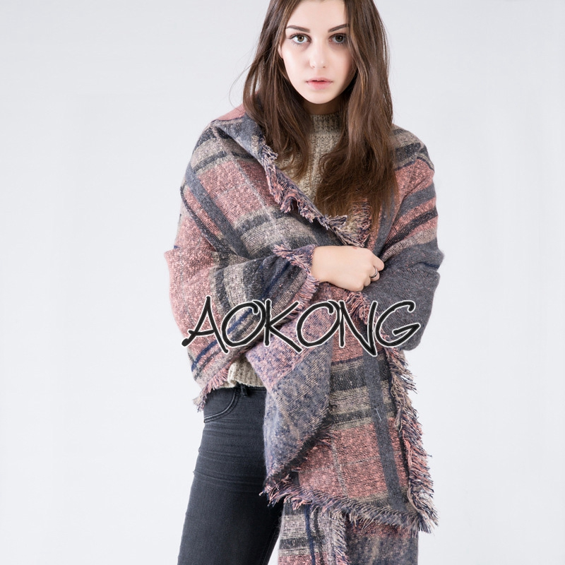 New design plaid check oblong warm winter scarf