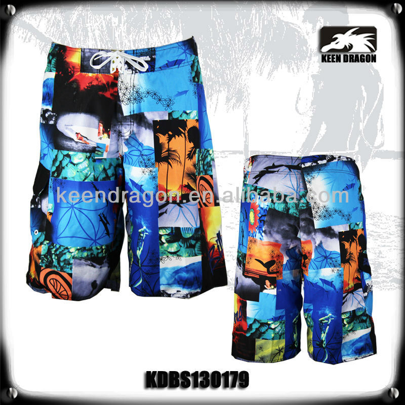 2014 new apparel 100% polyester printed customized boys boardshorts