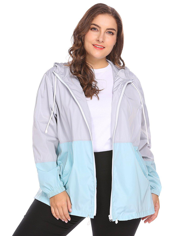 3b0b8cdc652 Get Quotations · IN VOLAND Women s Plus Size Rain Jacket Lightweight Hooded  Waterproof Active Outdoor Rain Coat
