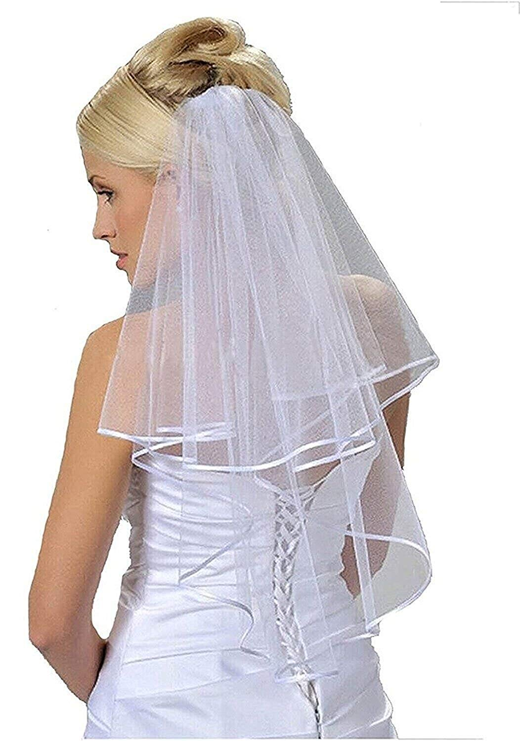 Women's 2 Layers Short Bridal Veil Wedding With Comb