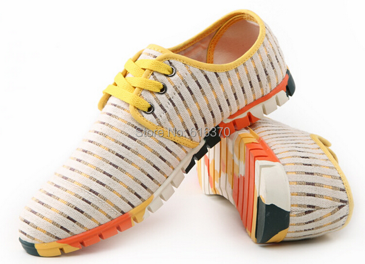 Free Shipping,Fashion Men's Flats,Candy Color Breathable Woven Canvas Low-Top Shoes,Lace-Up Casual Sport Shoes,US Size 6.5-10