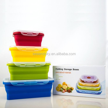 Set Of 4 Stackable Food Storage Containers Silicone Collapsible
