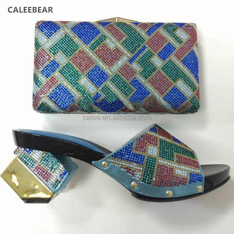 Sandals Ladies Low Matching And Bags Heels Blue Toe Bag Shoes African Italian And Open qHvX41