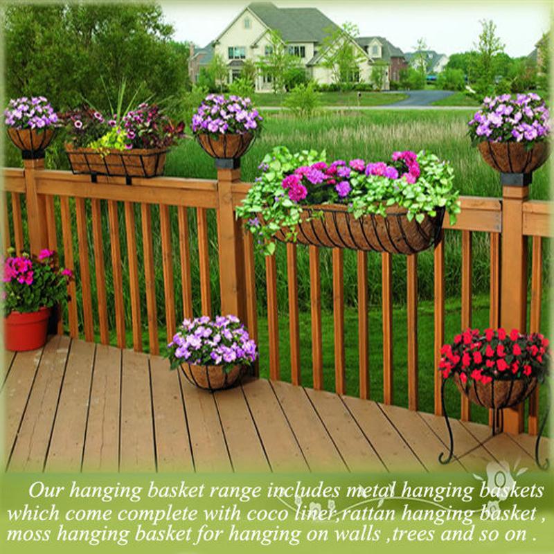 Hanging Basket On Fence: Green Field Garden Hanging Basket,Flower Hanging Basket