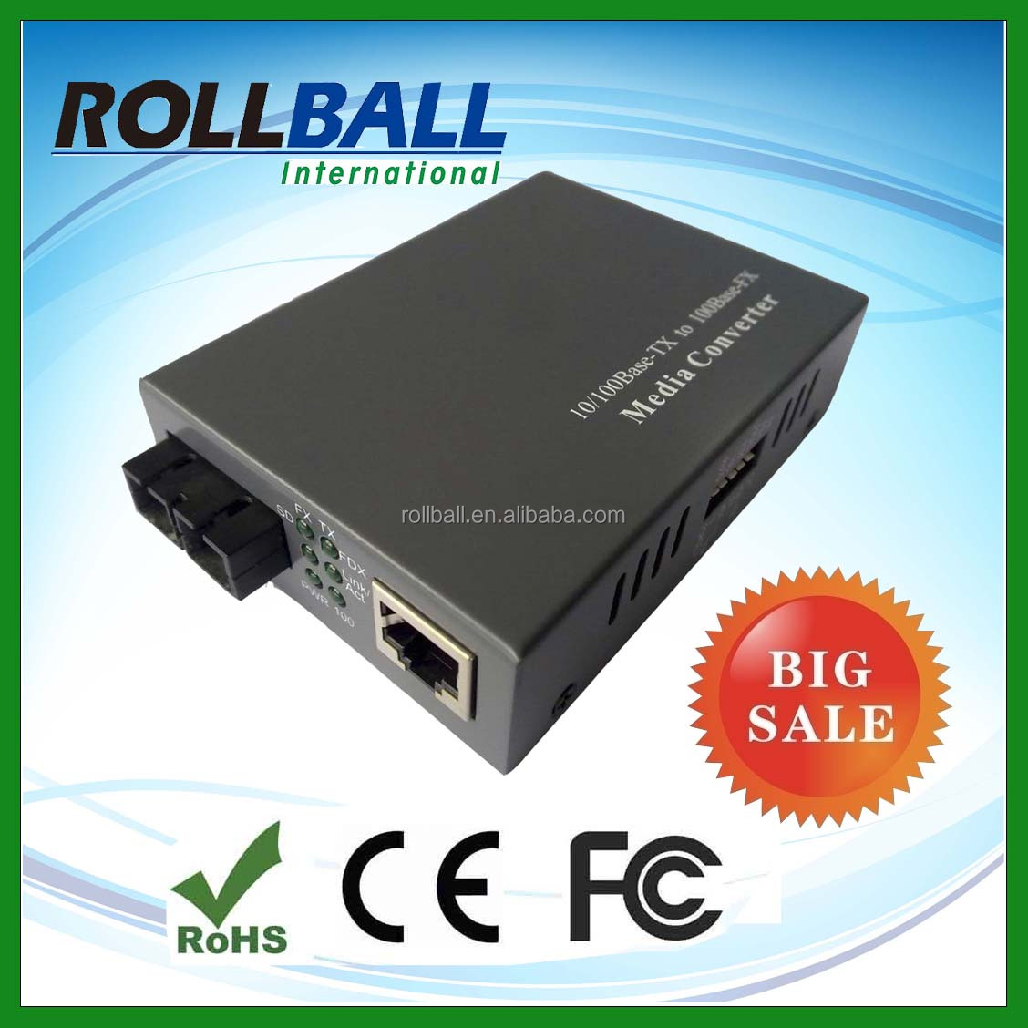 High performance 10/100m singlemode dual fiber 20km optical media converters