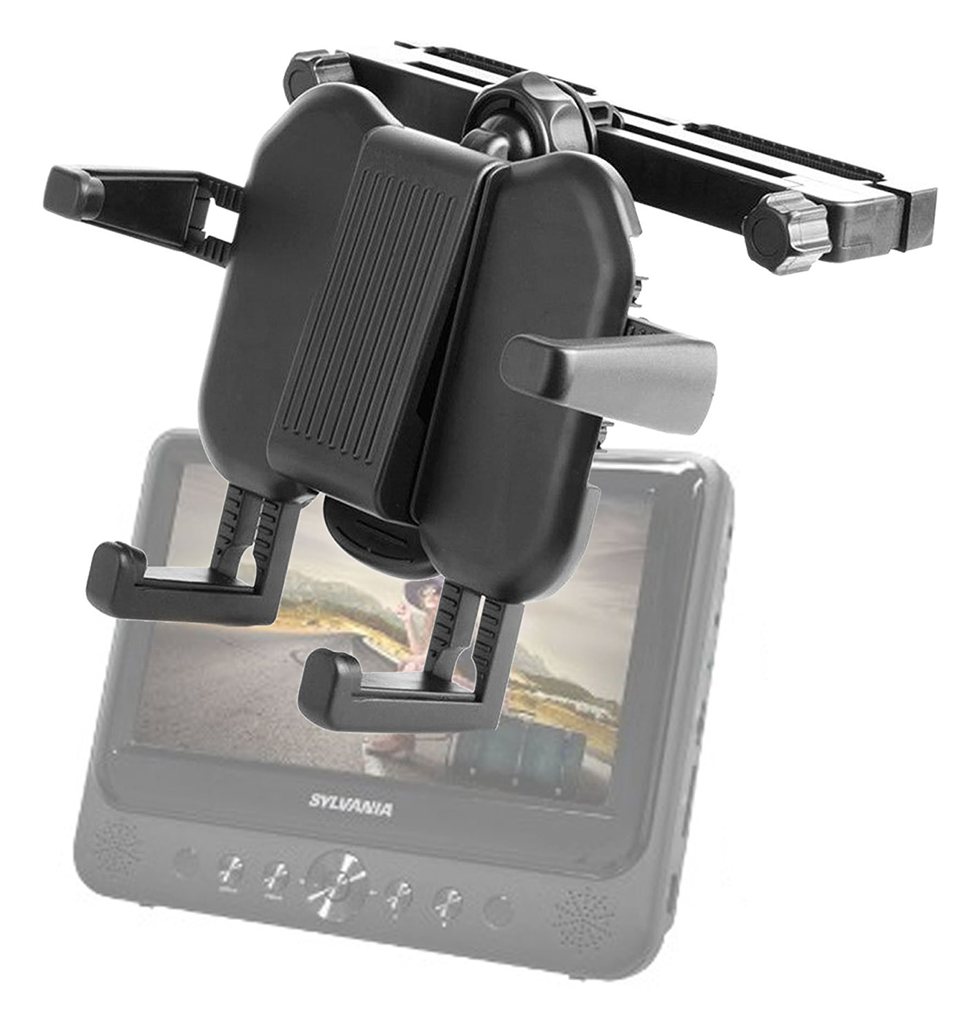 """DURAGADGET Headrest DVD Player Mount With Extendable Arms For Sylvania SDVD9805 9-Inch Dual Screen DVD Player, Argos Value Range 7"""", Bravolink 13.3"""" DVD Player, Voyager 7"""" Twin Screen DVD Player"""