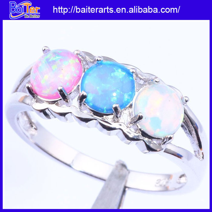 Wholesale Women Jewelry 925 Sterling Silver Peridot Blue Fire Opal Ring Green Stone Birthstone Rings