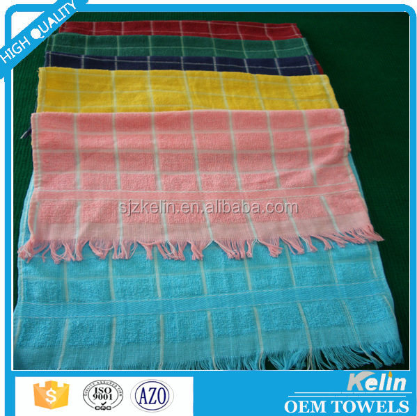 Cheap terry cotton yarn dyed check kitchen towel