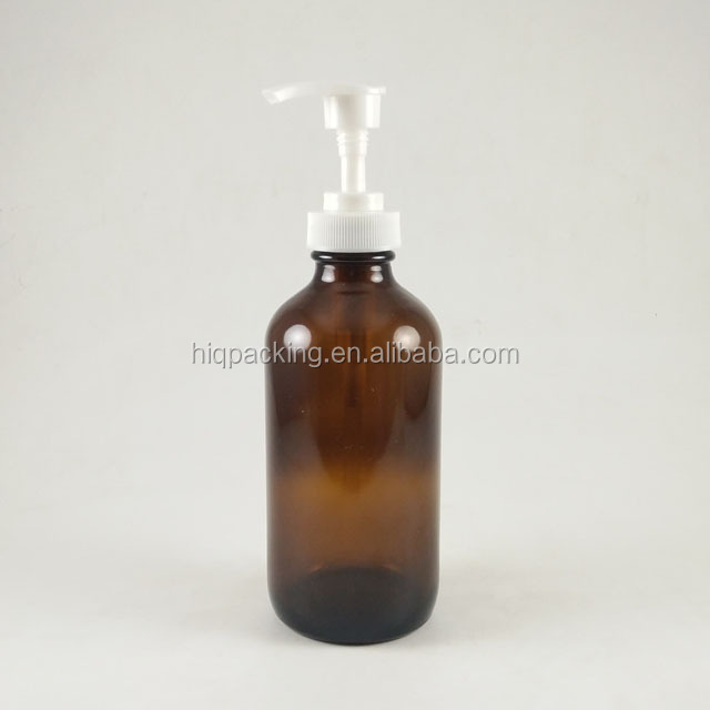 wholesale 8 oz boston round bottle 250 ml amber glass bottle with pump