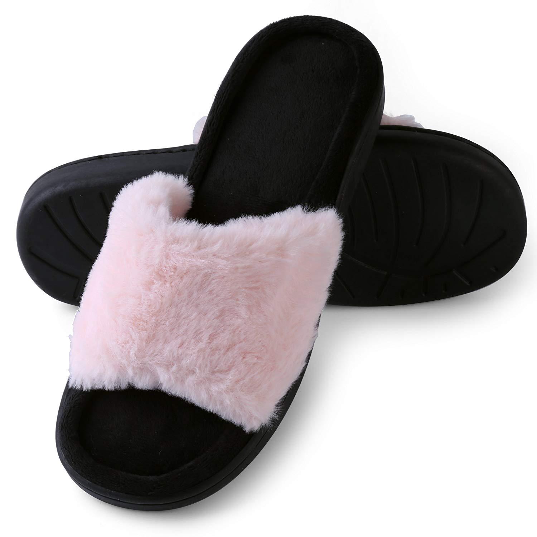 Aerusi Faux Fur Fluffy Plush Single Strap Flat Open Toe Slide On Slipper Sandals