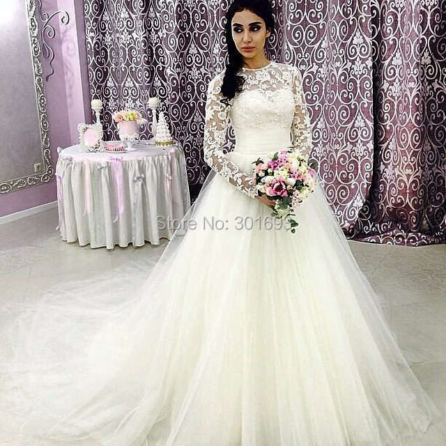 Simple Cheap Elegant Long Sleeves Wedding Dresses Lace: Oumeiya OW161 A Line Tulle Skirt Lace Top Elegant Simple