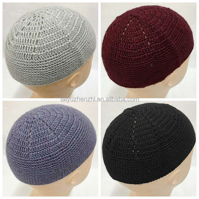 simplest polyester fabirc pure color Islamic knit hat cap for men with low price