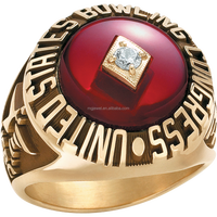 round shape youth championship baseball ring with big ruby