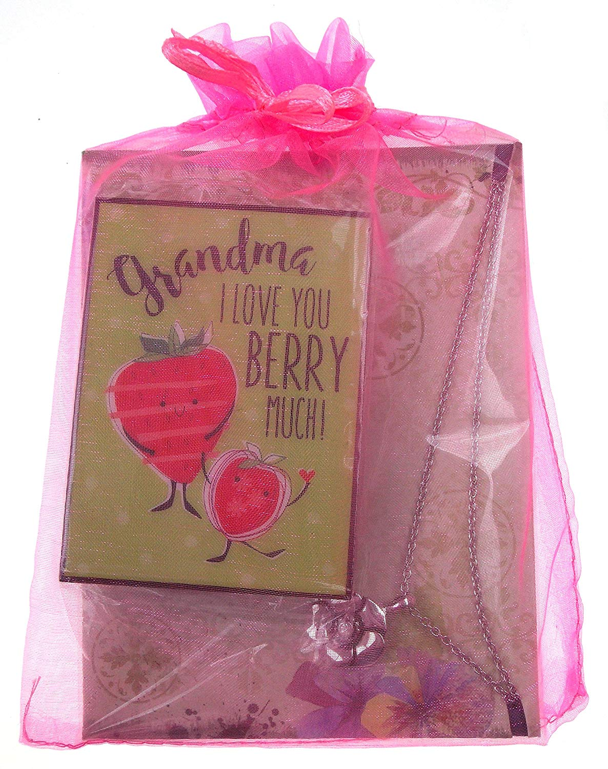 """Grandma Bundle - Ganz Necklace with Notecard & """"Grandma I Love You Berry Much!"""" Sign"""