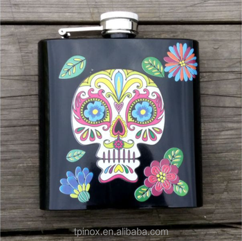 Tailor-made style outdoor 6oz 8oz stainless steel hip flask water transfer printing process
