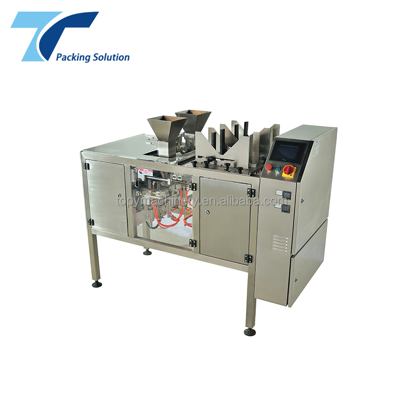 High Efficiency Pre-Made Pouch Open Plastic Zipper Bag Twin Packaging Machine for rice sugar coffee filling sealing and <strong>packing</strong>