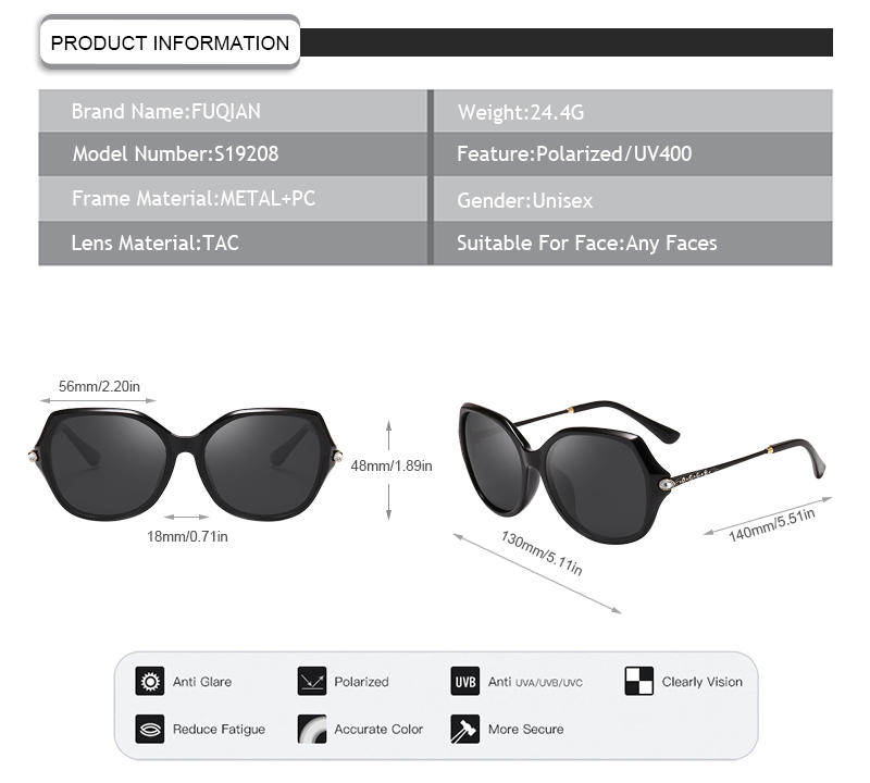 Fuqian ladies polarised sunglasses Suppliers for lady-7