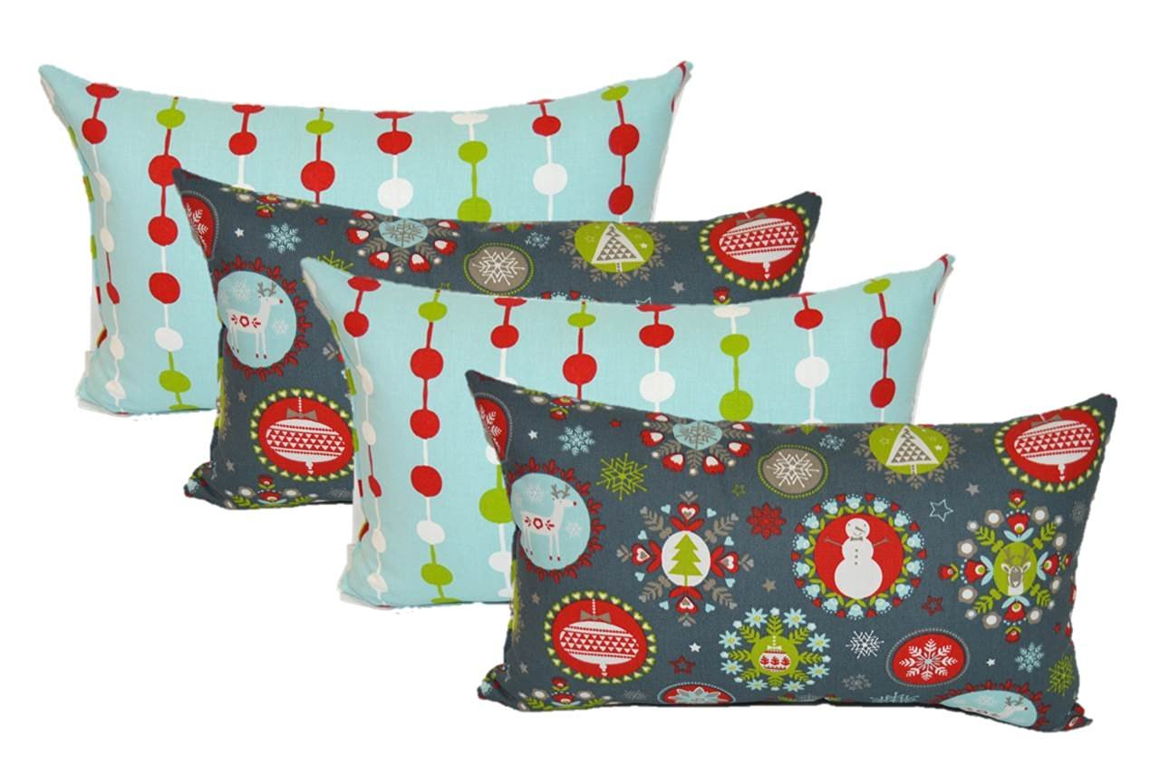 Set of 4 Indoor Cotton Decorative Lumbar / Rectangle Pillows - 2 Holiday Beads & 2 Holiday Folks Red Green Gray White Light Blue Christmas Fabric