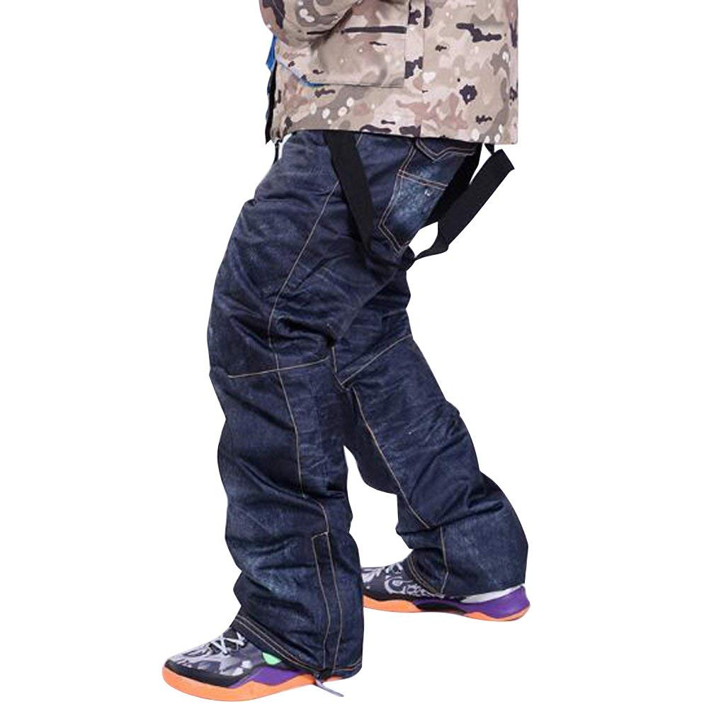 Skis Trousers Unique Denim Suspenders Skiing pants Waterproof Breathable Warm Skiing and Snowboarding Pants