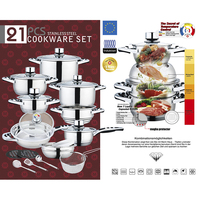 21Pcs New Fashion Stainless Steel Cookware Set Cooking Pot with Bakelite Handle