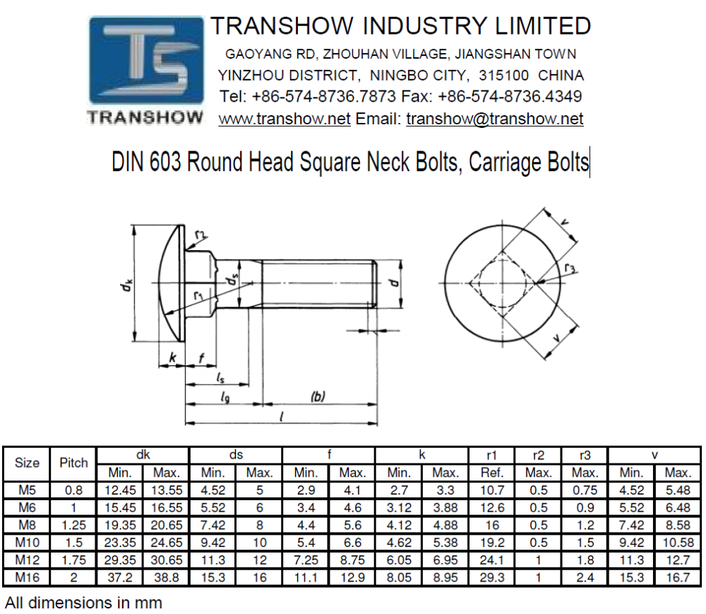 Round Head Square Neck Carriage Bolt, View Carriage Bolt