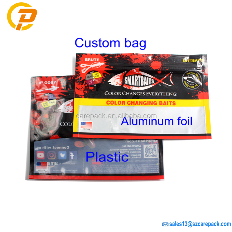 Custom Printed Clear Plastic Fishing Bait Ziplock Fish Lure Bag with Euro Hole