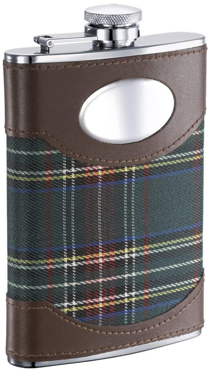 "Visol ""Edinburgh"" Plaid Cloth Wrapped Stainless Steel Hip Flask, 8-Ounce, Chrome"