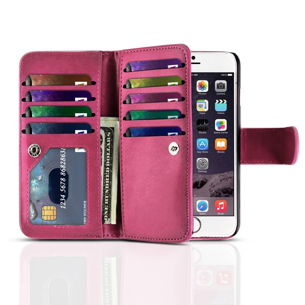 """TNP iPhone 6s Wallet Case (Hot Pink) - Flip Synthetic Leather Wallet Pocket Case 2-In-1 Magnetic Detachable Back Cover with Built-in 9 Card Slots for Apple iPhone 6 and iPhone 6S 4.7"""" Devices"""