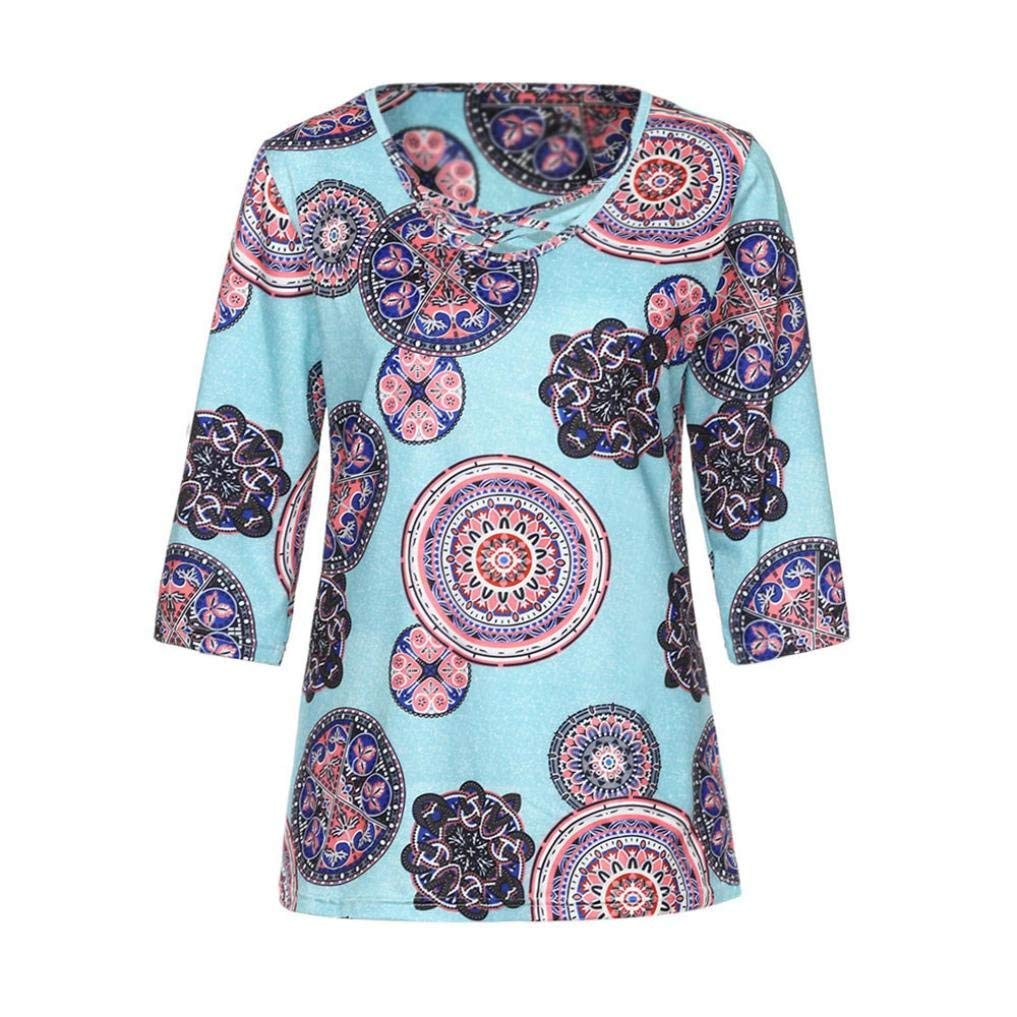 BCDshop Women Summer Autumn T-Shirts Casual Mandala Print V Neck Half Sleeve Shirt Lady Tops Blouse