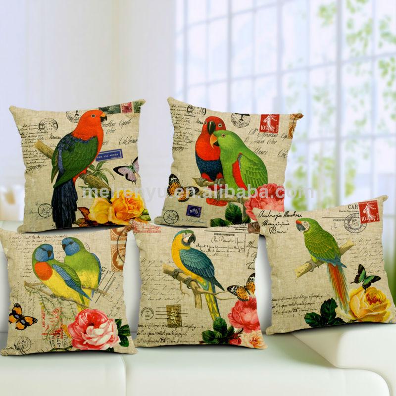 nouveau design toile de lin perroquet maison canapé et housse de