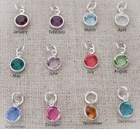 Cheap wholesale birthstone charm, silver month stone charms for jewelry accessories