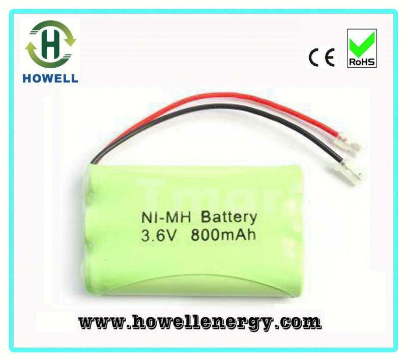 UL Approved ni mh rechargeable battery pack aaa 800mah / 3.6v 800mah ni-mh batteries pack