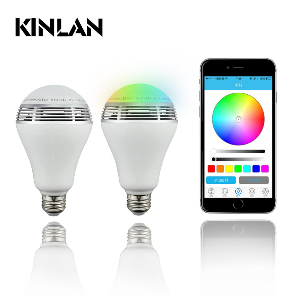 Kinlan colorful led bulb speaker bluetooth wireless music player