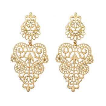 Saudi Gold Wedding Earring Jewelry 18k Gold Plated Hollow Exaggerated Earrings For Womens Buy Saudi Gold Wedding Earring Jewelry For Girlsdubai